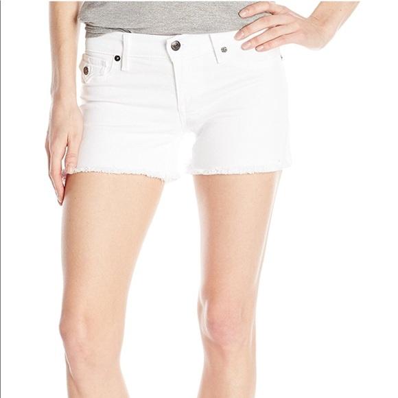 True Religion Keira frayed white denim shorts